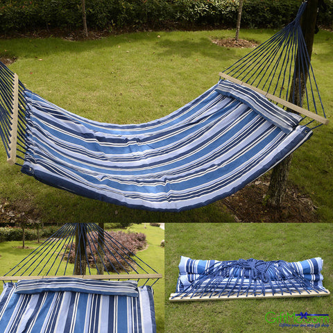 Amazing Restful Quilted Fabric Double Size Hammock With Pillow - GiftMo