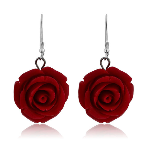Elegant 925 Sterling Silver Simulated Red Coral Carved Rose Flower Earrings - GiftMo