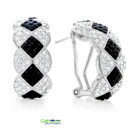Elegant Fashion Earrings Made with Swarovski Crystals in Platinum-Plated Bronze