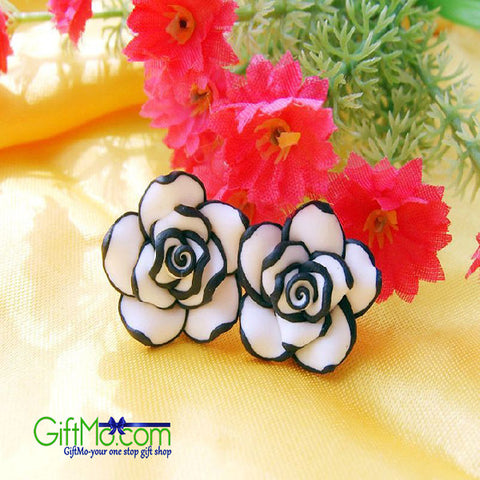 Elegant Fashion Women Black & White Rose Flower Stud Earrings - GiftMo