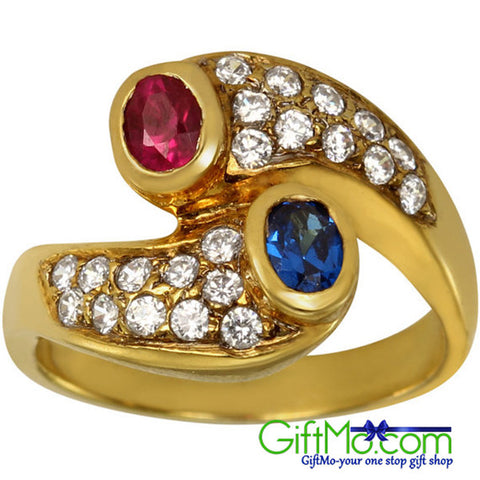 Elegant Ruby Red And Sapphire Blue Gemstone Pave Set CZ 14k Gold Ring - GiftMo