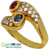 Elegant Ruby Red And Sapphire Blue Gemstone Pave Set CZ 14k Gold Ring