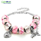 Elegantly Designed Silver tone Pink Murano Glass Bead and 'Mom' Heart Charm Bracelet