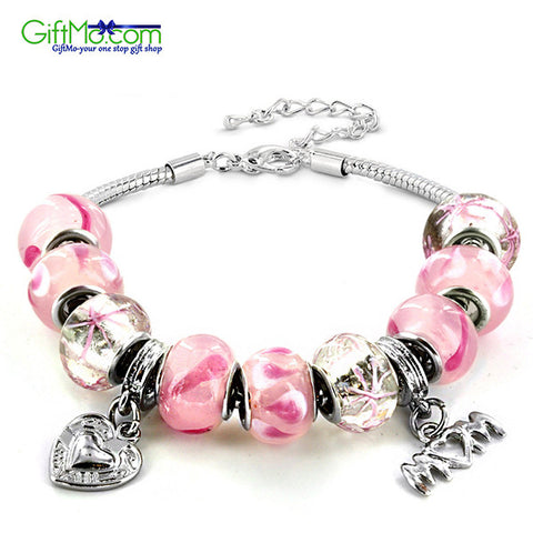 Elegantly Designed Silver tone Pink Murano Glass Bead and 'Mom' Heart Charm Bracelet - GiftMo