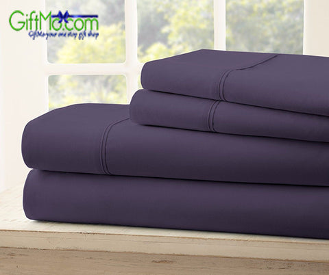 Embroidery 1800 Series 4 Pieces Egyptian Comfort Deep Pocket Bed Sheet Set Colors All Sizes - GiftMo