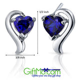 Eye Catching 2 CT Heart Blue Sapphire Sterling Silver Earrings - GiftMo
