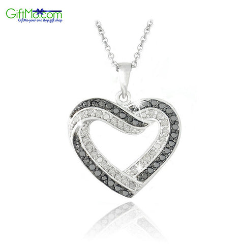 Eye Catching Black & White Diamond Open Heart Necklace - GiftMo