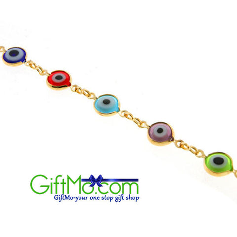 Eye Catching Multi-Color & Yellow Gold Plated Evil Eye Anklet Bracelet 10 Inch - GiftMo