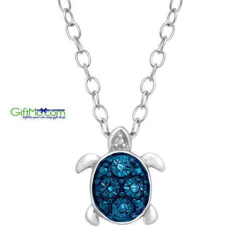 Eye Catching Teeny Tiny Turtle Pendant with Blue Diamonds in Sterling Silver - GiftMo