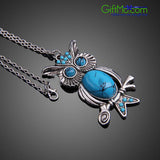 Eye Catching Vintage Turquoise Owl Necklace