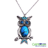 Eye Catching Vintage Turquoise Owl Necklace - GiftMo