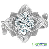 Eye Catching Women's 925 Sterling Silver Lotus Flower White Topaz Wedding Ring set