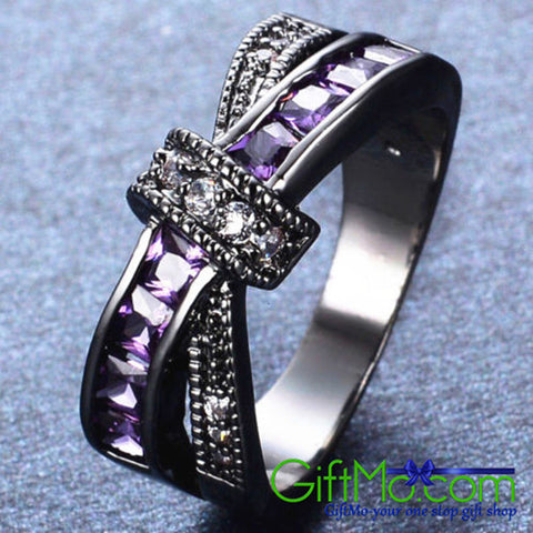 Fashionable Purple and White Sparkling Crisscross Ring - GiftMo