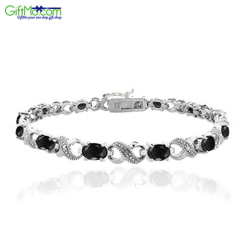 Genuine Black Sapphire & Diamond Accent Infinity Bracelet in Brass - GiftMo