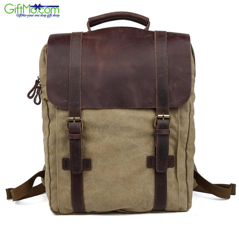 Genuine Leather Vintage Retro Rucksack Canvas Sports Laptop Backpack - GiftMo