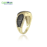 Glitzy Rocks Gold over Silver White Topaz and Champagne Diamond Accent Twist Ring - GiftMo