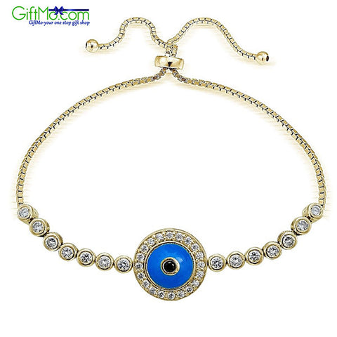 Unique Gold Tone over Sterling Silver Blue CZ Enamel Round Evil Eye Adjustable Bracelet