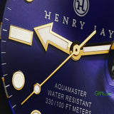 Beautiful Henry Jay Men's Quartz 23K Gold Plated Stainless Steel Aquamaster Dive Watch