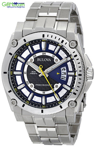 High End Bulova Men's Precisionist Black Dial Steel Bracelet Watch - GiftMo