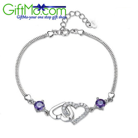 Dollar Deal Hot Fashion Free 925 Sterling Silver Double Heart Purple Crystal Chain Bracelet Gift - GiftMo