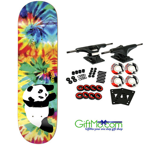 Hot Looking ENJOI Skateboard Complete PANDA TIE DYE V2 8.0 - GiftMo