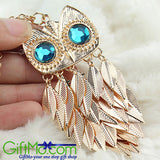 Hot Women Stylish Gold Leaves Owl Style Charm Pendant Necklace Long Chain - GiftMo