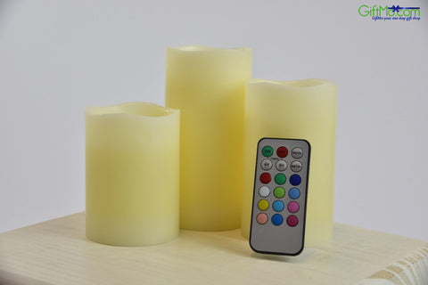 Indoor LED Flameless Candles with Remote (Set of 3) - GiftMo