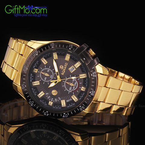 Luxurious Mens Black Dial Gold Stainless Steel Date Quartz Analog Sport Wrist Watch - GiftMo