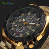 Luxurious Mens Black Dial Gold Stainless Steel Date Quartz Analog Sport Wrist Watch