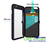 Luxury Fashion Card Slot Wallet Phone Case Cover With Mirror For iPhone 6 6s