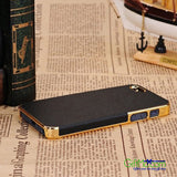 Luxury Leather Chrome Hard Back Case Cover For iPhone 5 5S Black Gold - GiftMo