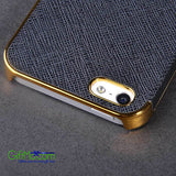Luxury Leather Chrome Hard Back Case Cover For iPhone 5 5S Black Gold