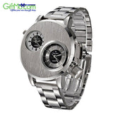 Luxury Men's Stainless Steel Date Military Sport Quartz Analog Wrist Watch - GiftMo