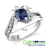 Majestic Wave 1.25 cts Sapphire Sterling Silver Ring