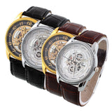 Hot Deal Men's Leather Stainless Steel Sport Wrist Watch Automatic Mechanical - GiftMo