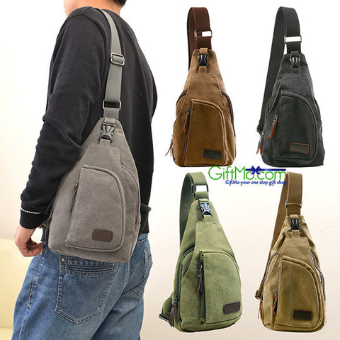 Men's Military Vintage Canvas Leather Satchel Shoulder Bag Messenger Travel Bag - GiftMo