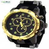 Mens Techno Gold Metal Case Black Silicone Band Quartz Watch