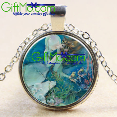 Mermaids Pearl Glass Photo Pendant Silver Necklace - GiftMo
