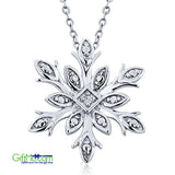"Most Beautiful 925 Silver Diamond Accent Snowflake Pendant on 18"" Silver Chain"