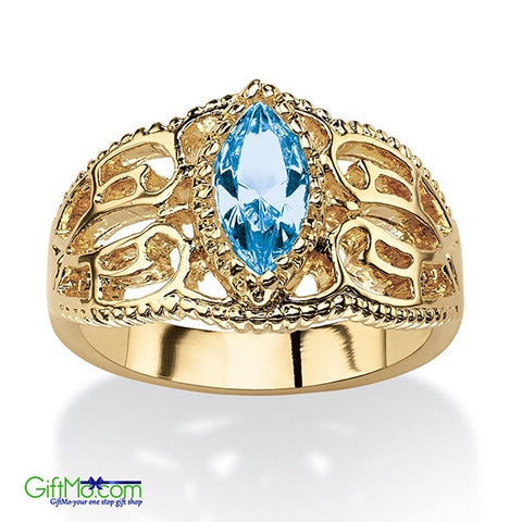 Most Beautiful Antiqued14K Gold Aquamarine Ring