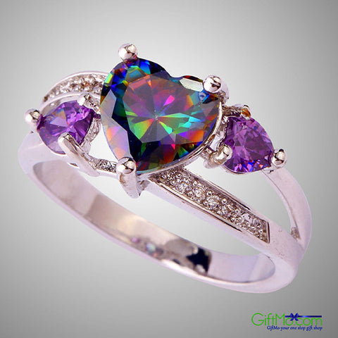 Most Beautiful Heart Rainbow & White Topaz Amethyst Silver Ring