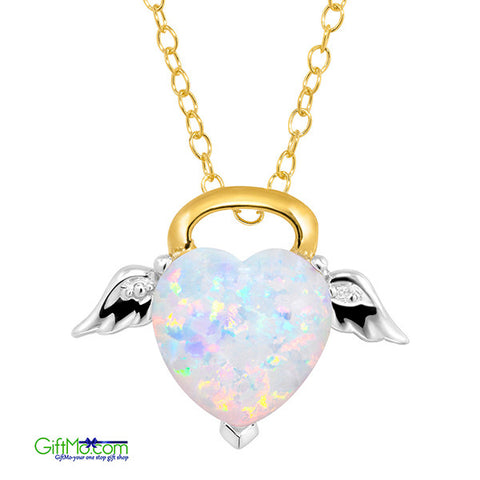 Most Beautiful  Opal Angel Pendant with Diamond in 18K Gold-Plated Sterling Silver