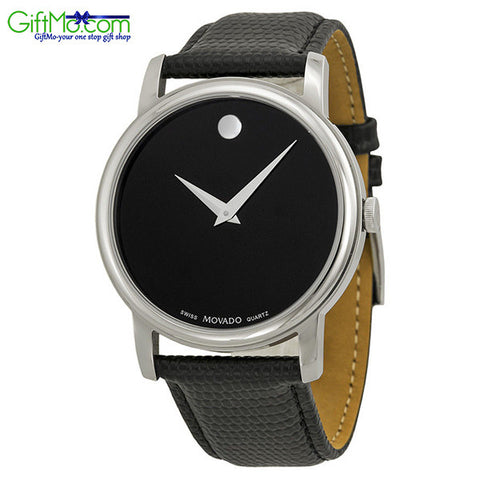 Movado Museum Black Dial Black Leather Strap Mens Watch - GiftMo