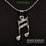 Music Lovers Rhinestone Silver Plated Melody Pendant Necklace