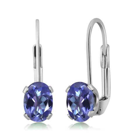 Mystic Blue Topaz Leverback Earrings