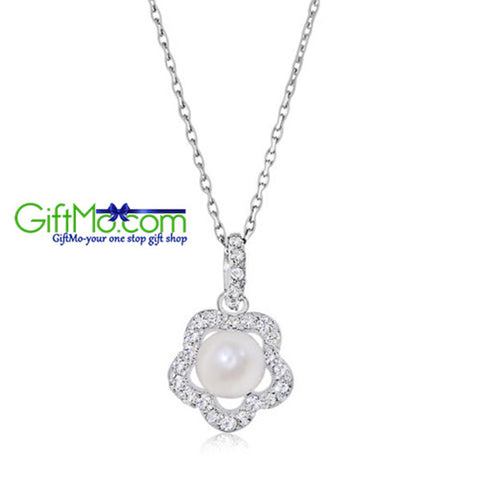 Natural Freshwater Pearl & Simulated CZ Flower Pendant in Sterling Silver - GiftMo