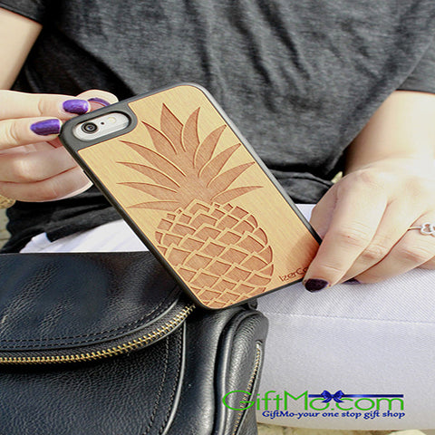 Natural Wood  iPhone & Samsung Galaxy Cherry Wood Pineapple Case