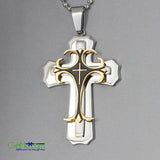 One Of A Kind Cross Pendant Necklace Unisex Gold Black Stainless Steel Crucifix