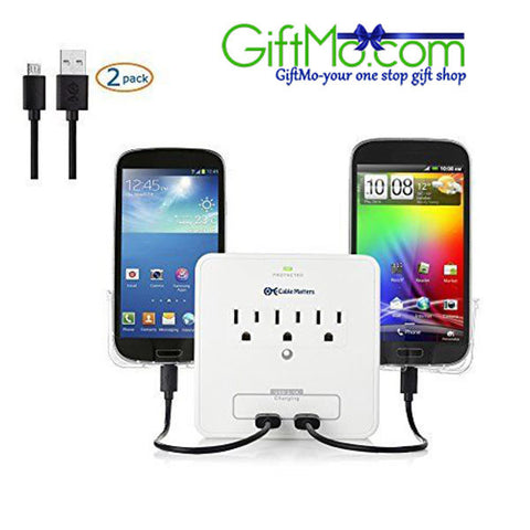 Outlet and USB Surge Protector - Charge your Gadgets Fast - GiftMo