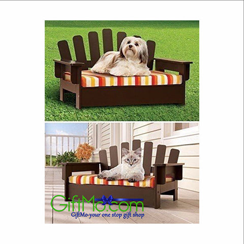 Pet Chair Wooden Cat Sofa Dog Couch Porch Bed Indoor Outdoor Cushion Furniture